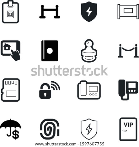 security vector icon set such as: area, sd, wireless, passport, facade, man, handle, wi-fi, coin, digital, biometric, web, building, personal, information, badge, contract, privacy, bank, theft