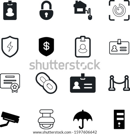 security vector icon set such as: cage, insignia, computing, shadow, togetherness, certification, video, tourist, bolt, save, fence, rainy, cloud, bank, handle, grid, fill, flash, ribbon, hyperlink