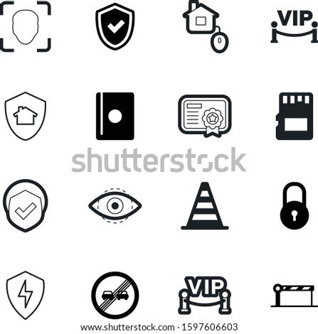 security vector icon set such as: insurance, travel, click, set, parking, property, shape, pass, passport, company, seal, restaurant, electric, area, clip, firewall, authentication, international