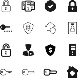 security vector icon set such as: people, private, id, closed, close, policeman, pass, officer, patrol, decoration, open, veteran, person, police, real, smart, creative, control, user, uniform