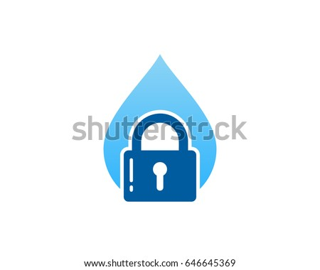 Security Water Lock Icon Logo Design Element