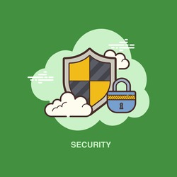 security with shield lock clouds on green background flat concept design