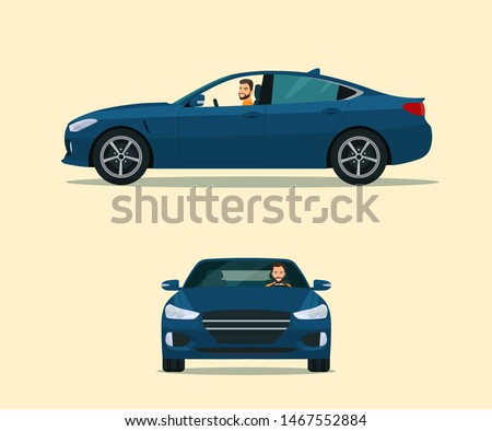 Sedan car two angle set. Car with driver man side view and front view. Vector flat style illustration.