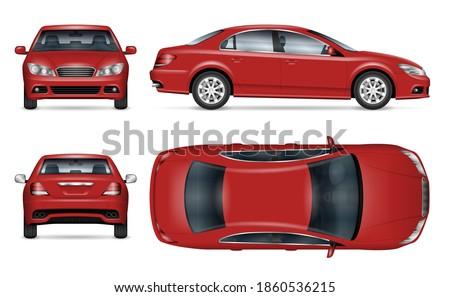 sedan car vector mockup for