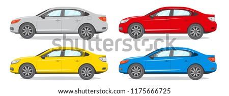 sedan different color vector