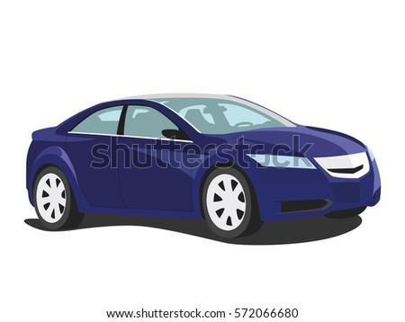 sedan vector blue
