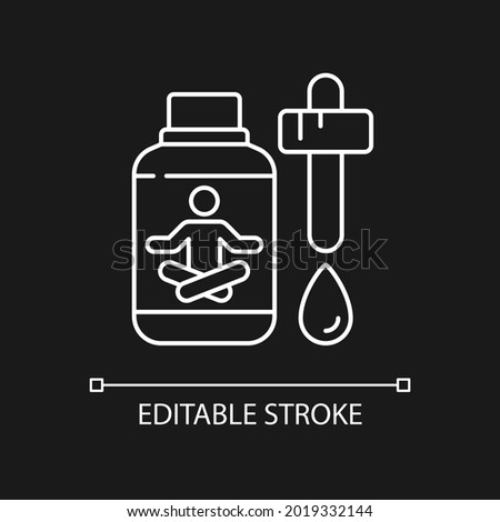 Sedative drops white linear icon for dark theme. Reduce tension, anxiety. Calming medication. Thin line customizable illustration. Isolated vector contour symbol for night mode. Editable stroke Foto stock ©