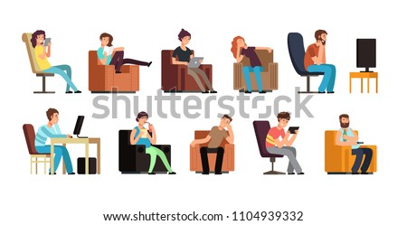 Sedentary man and woman on couch watching tv, phone, reading. Lazy lifestyle cartoon vector characters isolated. Illustration of relaxing armchair, read and watch to mobile
