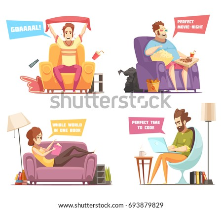 Sedentary persons retro cartoon icons with sport fan, work at laptop, reading, watching television isolated vector illustration