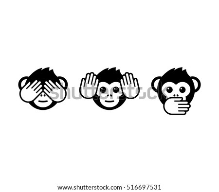 See no evil, hear no evil, speak no evil. Three wise monkeys vector icons.