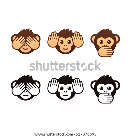 See no evil, hear no evil, speak no evil. Three wise monkeys vector icons. Color and black and white version.