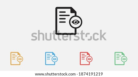 See the document. Document detail icon. Document file view. Paper with eye simple icon. Vector illustration . See the document detail.  Set of colorful flat design icons