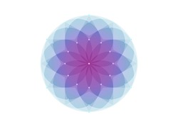 Seed of life symbol Sacred Geometry.  Geometric mystic mandala of alchemy esoteric colorful Flower of Life. Vector watercolor style, divine meditative amulet isolated on white background