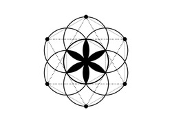 Seed of life symbol Sacred Geometry.  Geometric mystic mandala of alchemy esoteric Flower of Life. Vector black tattoo divine meditative amulet isolated on white background