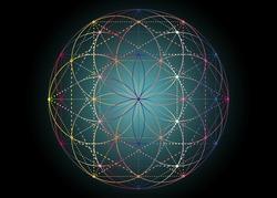 Seed of life symbol Sacred Geometry.  Geometric mystic mandala of alchemy esoteric Flower of Life. Vector boho colorful divine meditative amulet isolated on black background