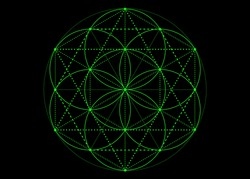 Seed of life symbol Sacred Geometry. green mystic mandala of alchemy esoteric, Flower of Life. Vector neon bright color effect isolated on black background