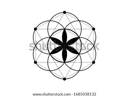 Seed of life symbol Sacred Geometry. Logo icon  Geometric mystic mandala of alchemy esoteric Flower of Life. Vector black tattoo divine meditative amulet isolated on white background