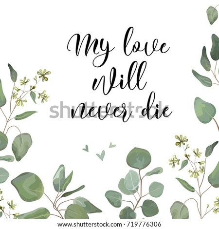 Seeded Eucalyptus silver dollar green branches, leaves foliage border frame. Vector floral watercolor style forest elegant cute greenery for Wedding Invitation invite postcard card Design & copy space
