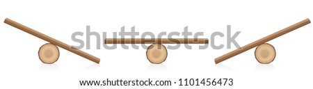 Seesaw balance. Equal and unequal weight. Wooden balance toy. Simple rustic seesaws constructed of a lying tree trunk and a wooden plank - isolated vector illustration on white background.