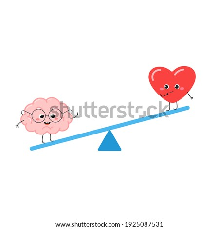 Seesaw with nerdy brain in glasses and funny confused heart. Reasons of mind outweigh emotions humorous concept. Vector flat illustration isolated on white background Stock photo ©