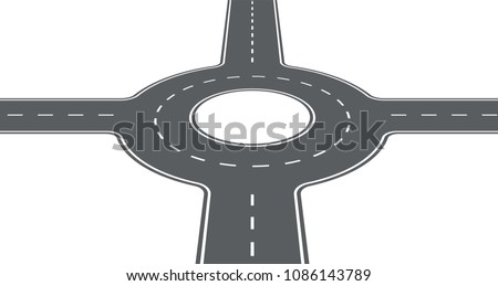 Segment of road. Roundabout, circular motion