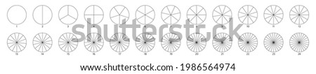 Segment slice sign. Circle section graph line art. Pie chart icon. 2,3,4,5,6 segment infographic. Wheel round diagram part. Five phase, six circular cycle. Geometric element. Vector illustration.