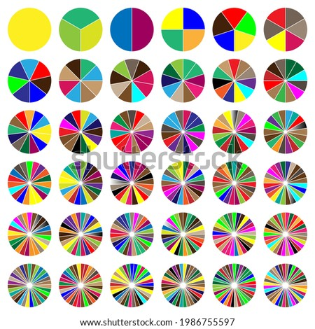 Segmented circle pie graph, pie chart infographics, presentation template design element from 1 to 36 segments ストックフォト ©