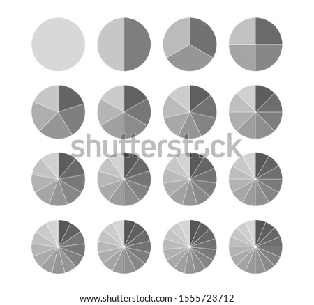 Segmented circles set isolated on a white background.Big set, of wheel diagrams. Various number of sectors divide the circle on equal parts.