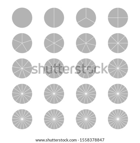 Segmented circles set isolated on a white background. Fraction.