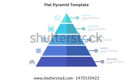 Segmented pyramidal chart with five colorful stages or levels. Concept of 5 steps of business analysis. Simple infographic design template. Flat vector illustration for presentation, report, banner.