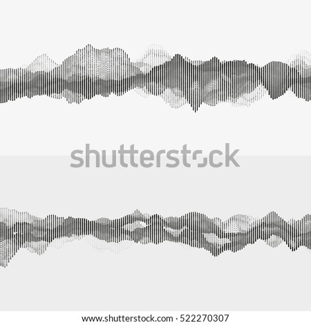 Segmented vector audio waves. Advanced digital music visualization. Monochrome illustration of sound frequencies. Element of design.