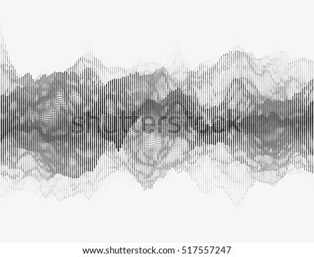 Segmented vector radio wave. Advanced digital music visualization. Detailed audio data analytics. Monochrome illustration of sound frequencies. Element of design.