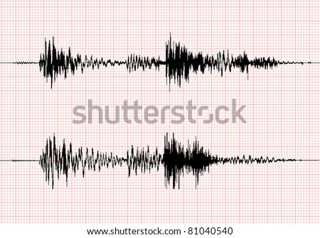 seismogram for seismic measurement - record on chart of earthquake wave on graph paper - stereo audio wave diagram