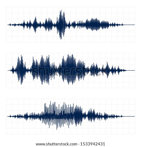 Seismograph chart. Seismic activity diagram, radio frequency waves and oscilloscope waveform graph vector set. Earthquake curve on paper tape. Lie detector. Digital soundwave, vibrations amplitude
