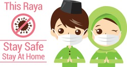 Selamat Hari Raya aidilfitri and please stay at home. Muslims prepare to celebrate Hari Raya at home to avoid the spread of viruses covid-19.