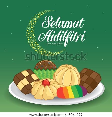 Selamat Hari Raya Aidilfitri vector illustration with traditional Kuih Raya. Caption: Fasting Day of Celebration
