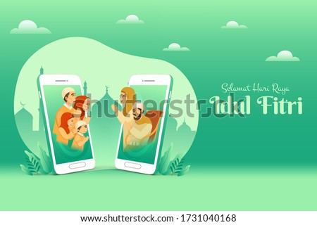 Selamat hari raya Idul Fitri is another language of happy eid mubarak in Indonesian. muslim family blessing Eid mubarak to grandparents through smart phone screens using video call during Covid-19
