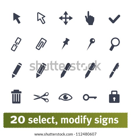 Select, modify signs illustrations. Vector set: web interface icons. Easy to edit.