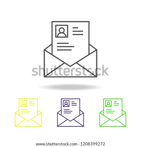 Selected CV line color icon. Element of head hunting color icon for mobile concept and web apps. Thin line Selected CV color icon can be used for web and mobile on white background