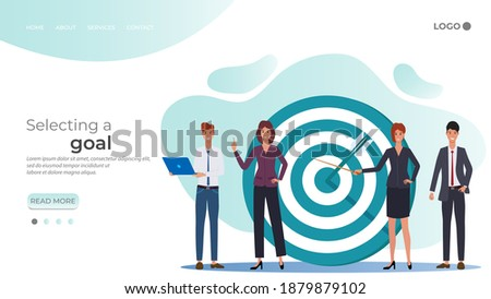 Selecting a goal.businessmen discuss tasks and goals.People near the target with an arrow.The team that reaches the goal.Development goals of the new project.Teamwork successful goals.