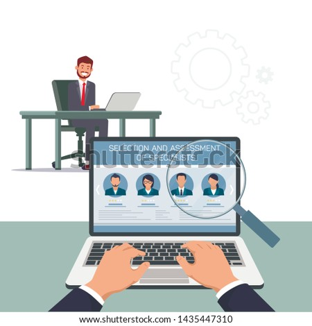 Selection and Assessment Specialists. Men at Table with Laptop. Open Vacancy. Search Candidate Position. Vector Illustration. HR Manager. Recruitment Agency. Search and Review Resume. Hands on Laptop.
