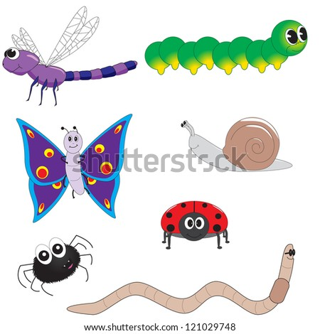 Selection of cartoon insects