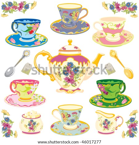 Selection of fancy victorian teacups , isolated on white