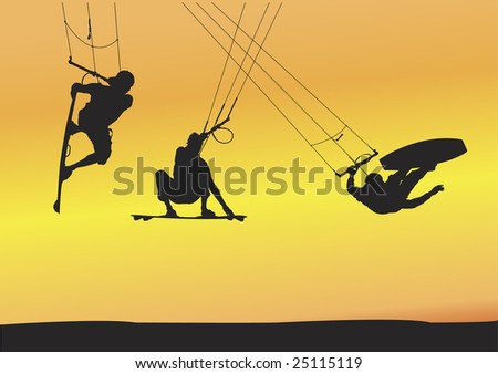 Selection of kite boarding Ariel jump silhouettes, individually grouped and fully editable illustrations with sunset background. - stock vector
