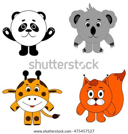 selection of round animal panda koala giraffe squirre. animals icon