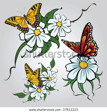 stock vector : Selection of sketches tattoo tribal - camomile flowers