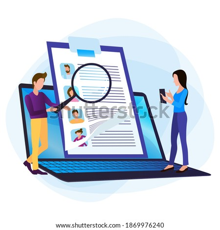 Selection of specialists, virtual job fair. The Human resources department selects professionals from among the vacancies of employees. Stock photo ©