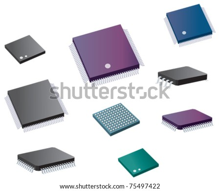 Selection of various computer chips