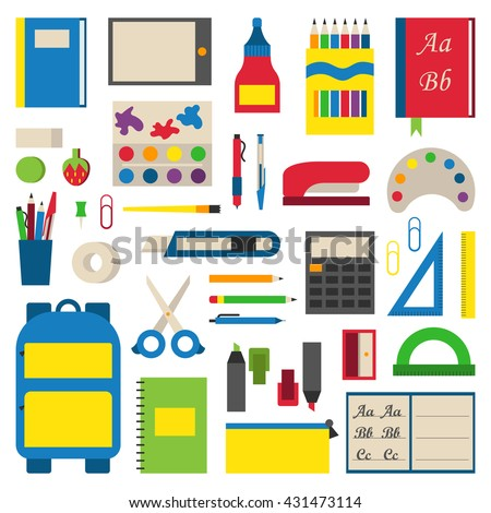 Selection of various individual school supplies on white background. Student tools school supplies and paper accessories learning school supplies. Collection vibrant materials school supplies. - stock vector