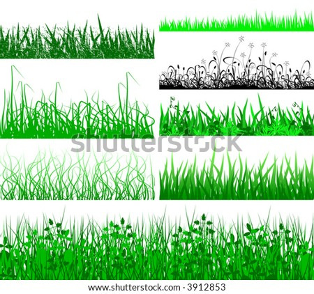 Selection of vector grassy verges and foregrounds